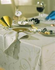 STREAMERS CREAM GOLD TABLE CLOTH METALLIC GLITTER SWIRL STAR PARTY CHRISTMAS