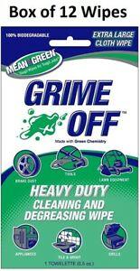Nutek Green BET-0011 Grime Off Heavy Duty Cleaning Degreasing Wipes, Box of 12