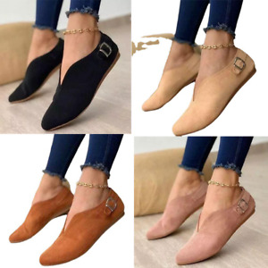 2021 New Women Pointed Toe Faux Suede Low-cut Casual Buckle Flats Slip On Shoes