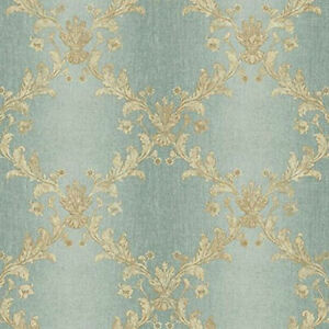Trellis Wallpaper with Aqua Ombre Stripe & Gold Metallic Sheen by York KP4983