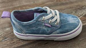 Vans Atwood Slip toddler girls blue acid wash denim skate shoes size 7