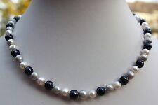 AA 8,5-9,5mm 46cm Süßwasser Perlen Schmuck Halskette Kette Perlenkette Collier