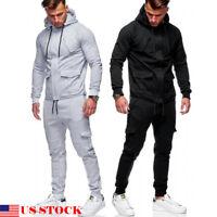 US Men Tracksuit Sports Suit Set Outwear Sweat Hoodie Long Pant Jogger Plus Size