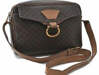 Authentic CELINE Macadam Pattern Shoulder Bag PVC Leather Brown B4343