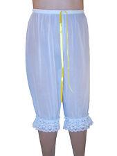See-thru Mesh Sissy PJ Pants 3/4 Length Lace Rim White S-L