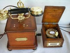FRENCH WOOD & BRASS DESK RESTORED ANTIQUE TELEPHONE & DIALER 3RD PARTY RECEIVER