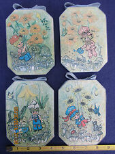 lot of 4 Tomylee nursery pictures on wood plaques w/ flowers children mushrooms
