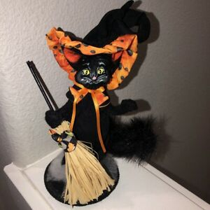"""Black Cat Halloween 8"""" Felt Figurine Witches Hat & Broom Hand Painted Face Cute!"""