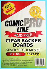 10 COMIC PRO LINE Crystal CLEAR SILVER / REGULAR SIZE 60pt BACKER BOARDS Backing