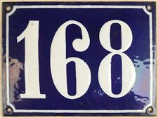 Large old French house number 168 door gate plate plaque enamel steel metal sign