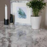 1m X67cm ROMEO GLOSSY BLACK WHITE SELF ADHESIVE MARBLE STICKY BACK PLASTIC VINYL