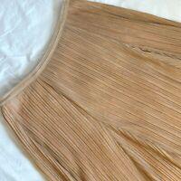Anthropologie Maeve Womens Size M Pleated Metallic Shimmer Salmon Midi Skirt