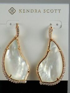 Kendra Scott Rose Gold Ivory Mother of Pearl Clear CZ TINLEY Drop Earrings $120