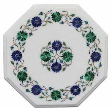 2' white marble coffee table top semi precious stones inlay Handicraft decor