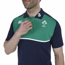CANTERBURY IRFU IRELAND RUGBY MENS NAVY GREEN POLO SHIRT SIZE L RRP £35