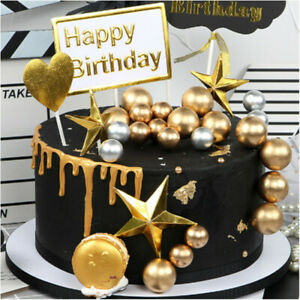 20X Golden Balls Cake Toppers Birthday Wedding Party Cupcake Dessert Decoration