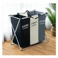 Foldable Dirty Laundry Basket Organizer Printed Collapsible Three Grid Hamper