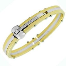 Stainless Steel Yellow Gold Silver-Tone White Crystals CZ Handcuff Mens Bracelet