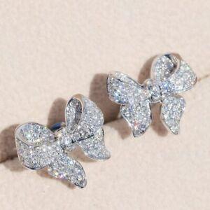 925 Silver Zircon Crystal Bow Earrings Stud Wedding Jewelry Fashion Women Gift