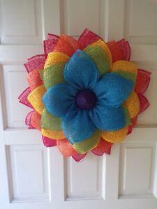 Wreath, rainbow, year round. New door or wall decor.