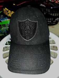 Nice Oakland/Las Vegas Raiders Hat Cap Black OSFA Reebok Black on Black Logo