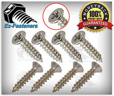 "Flat Head Phillips Drive Sheet Metal Screws Stainless Steel #10 x 1-1/2"" Qty 100"