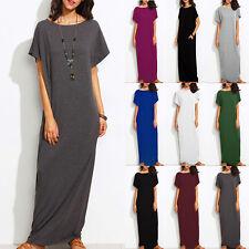 ZANZEA Damen Summer Kurzarm Casual Kaftan Strand Party Maxi Long Kleid Plus Size