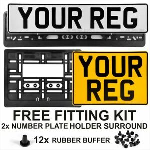 Oblong and Square Pressed Number Plates Metal Car MOT Compliant REG Road Legal