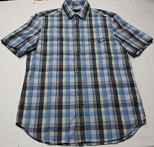 FRENCH CONNECECTION Mens Blue Plaid Short Sleeve Button Shirt  NWT L  Large  $68