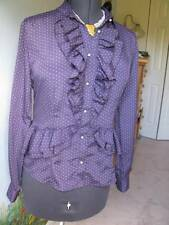 Love Moschino Purple Polka Dot Ruffled Blouse Top SZ 8 Made in Italy $375