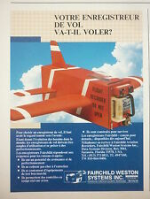 6/85 PUB FAIRCHILD WESTON SCHLUMBERGER FLIGHT DATA RECORDER ENREGISTREUR VOL AD