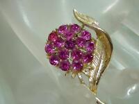 Pretty Vintage 1950 Pink Rhinestone Flower Brooch 811my