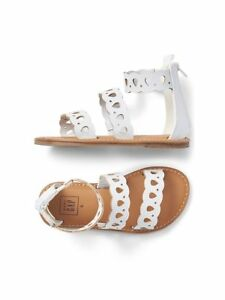Gap Toddler Girls Brown White Scallop Strappy Stacked Heel Faux Leather Sandal 8