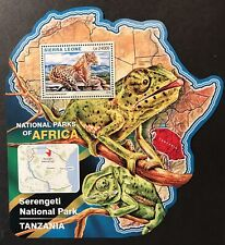 SIERRA LEONE WILD ANIMALS MAP SHAPED STAMPS S/S 2016 MNH SERENGETI NATIONAL PARK