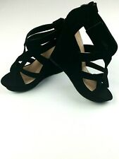Top Moda Lindy Women's Wedged Strappy Open Toe Ladies Sandals Shoes BLACK, SZ 10