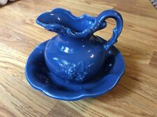 McCoy Pottery Bowl and Pitcher Set Blue with Grape Motif
