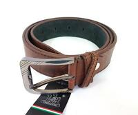 ds Cinta Cintura Uomo Pelle Marrone Scuro A-095 Elegante Glamour Fashion hac