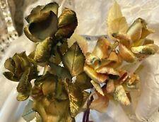 Vintage Millinery 1940s Velvet Satin Triple Roses Leaves 1 Spray Made in Japan