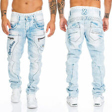 Cipo & Baxx Herren Regular Jeans Hose 272 Blau Dicke Nähte Denim Mens Pants