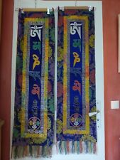 Bouddhisme: tenture, mantra tibétain x 2 neufs, 32,5 x120 Aum Mani Padme Hum