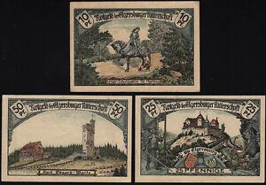 1921 Elgersburg Germany Notgeld Lot 3 Rare Emergency Money Banknote Complete Set