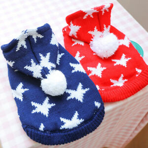 Winter Warm Dog Sweater Hoodie Jacket Clothes Star Puppy Cat Knitwear Coat Outit