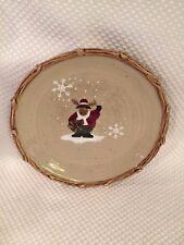 "Lodge Cabin 8"" Salad Plates Santa Reindeer Moose Christmas Make Season Bright"