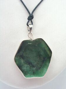 Ciondolo in ARGENTO 925 con radice di SMERALDO naturale - pendente Pietra Dura -