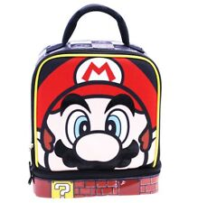 SUPER MARIO Boys Lead Safe Dual Chamber Insulated Lunch Tote Bag Box w/Carabiner