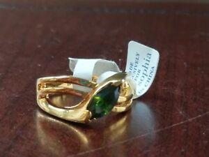 Lia Sophia Sweet Pea Ring Marquise Cut Green Cubic Zirconia Stone CZ Sz 8 Gold