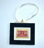 Volunteer Firemen Hand Crafted Velvet Framed USA Stamp Christmas Tree Ornament