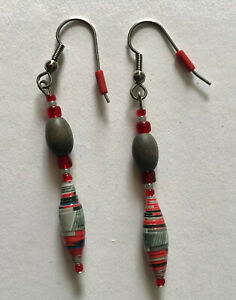 RED & SLATE GRAY RECYCLED PAPER BEAD EARRINGS, eco-friendly fishhook earwire