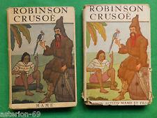 LA20 ENFANTINA  ROBINSON CRUSOE DANIEL DEFOE 2 VOLS ILLS URIET ZIER 1934 MAME