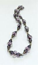Vintage Encased Black w/ Pink Flowers Lampwork Art Glass Bead Necklace Jn20Bn54